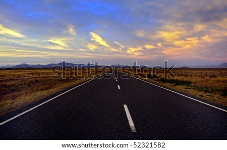 Empty Road in New Zealand - stock photo