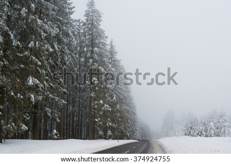 Empty road in snowy winter landscape with red boundary posts - stock photo