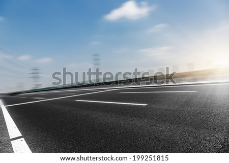 empty road, overpass of shanghai china.  - stock photo