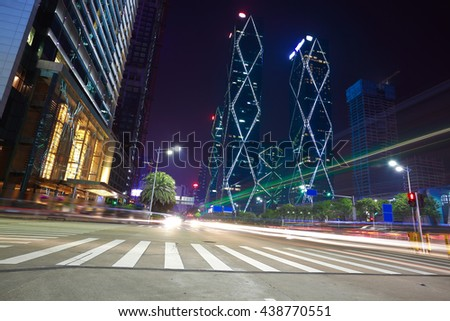 Empty road surface floor with modern city landmark building backgrounds of night scene in Shenzhen China