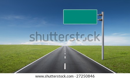 empty road through fields with blank road-sign - stock photo
