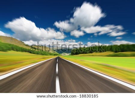 Empty road with motion blur - stock photo
