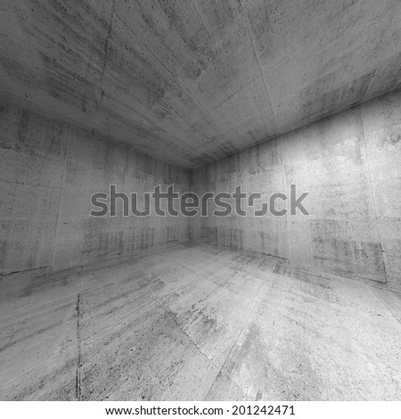 Empty room, abstract concrete 3d interior. Wide angle - stock photo