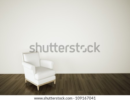 empty room armchair on blank white wall - stock photo
