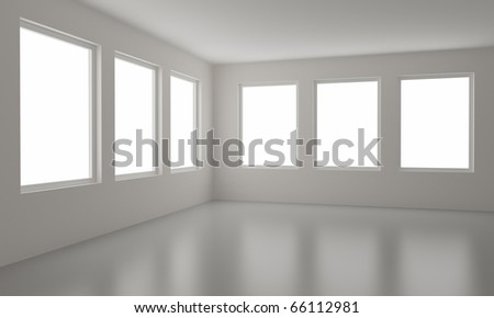 Empty room, clean interior, new office, clipping path for windows included - stock photo