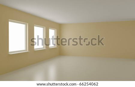 Empty room, clean office or residential interior, with clipping path for windows - stock photo
