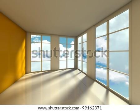 Empty room, 3d home interior - stock photo