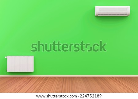 Empty Room 3D Interior with Air Conditioner and Battery on the wall - stock photo