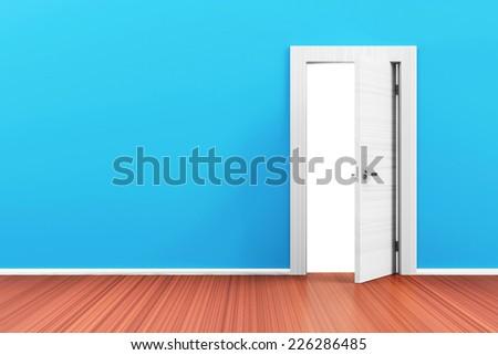Empty Room 3D Interior with Opened Door - stock photo