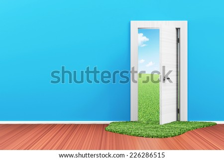 Empty Room 3D Interior with Opened Door and Beautiful Landscape behind - stock photo