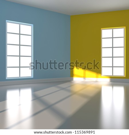 Empty room in blue and yellow colour. 3d render illustration - stock photo