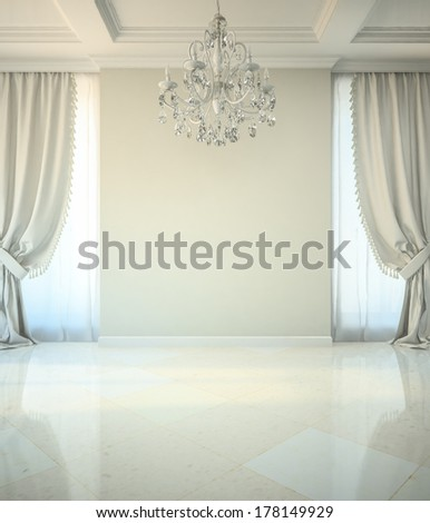 Empty room in classic style with crystal chandelier 3D - stock photo