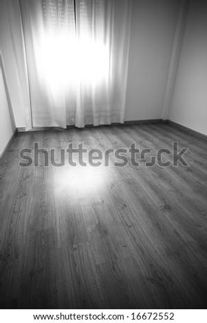 Empty room in dark black and white. - stock photo