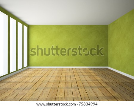 Empty room in green colour 3D rendering - stock photo