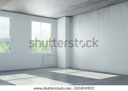Empty room in old house with concrete walls (3D Rendering) - stock photo