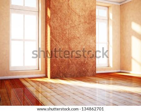 empty room in warm colors, rendering - stock photo