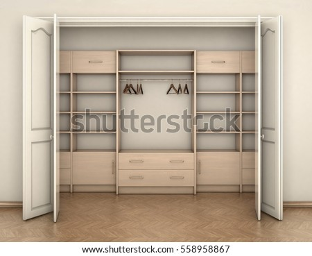 Empty Room Interior And Big White Closet 3d Illustration