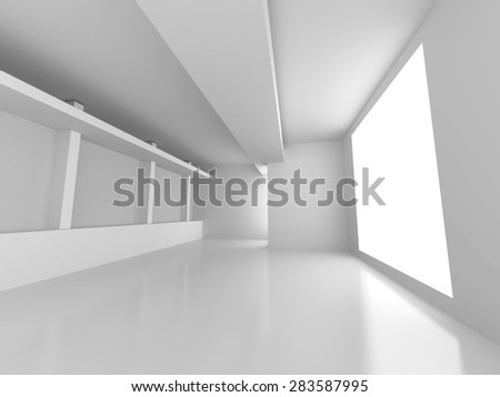 Empty Room Interior Architecture Abstract Background. 3d Render Illustration - stock photo