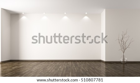 Empty Room Interior Background With Glass Vase Branch 3d Rendering