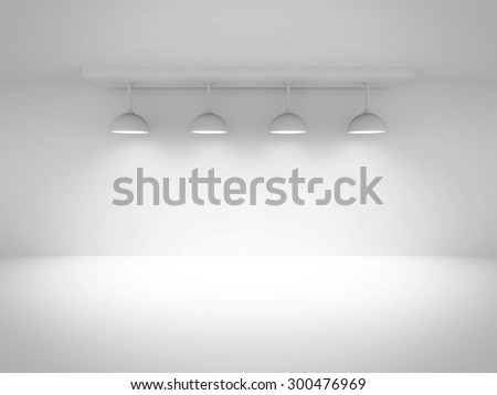 Empty Room Interior Background With Lights. 3d Render Illustration - stock photo