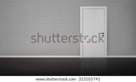 Empty room interior with brick wall and closed white door realistic  illustration - stock photo