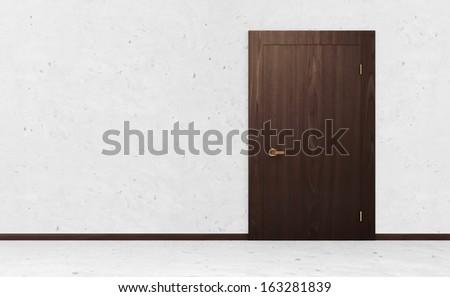 Empty Room Interior with Closed Wooden Door - stock photo