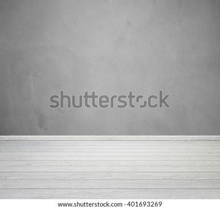 empty room interior with concrete wall and wood floor