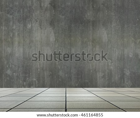 Empty room interior with old dirty wooden wall and stone floor for background texture.