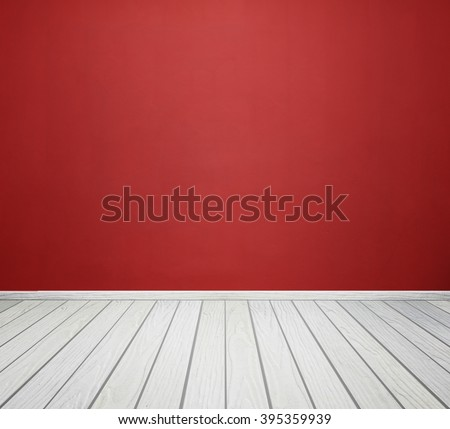 empty room interior with red concrete wall and white wood floor