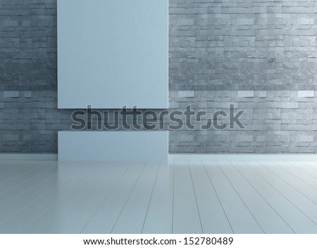 Empty room interior with stone wall and wooden floor