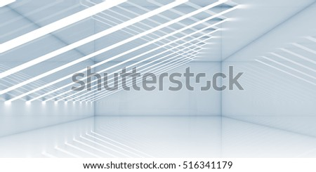 Empty room interior with thin stripes of lights. Contemporary architecture background. 3d render illustration