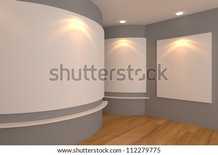 Empty room interior with white canvas on a gray wall in the gallery.