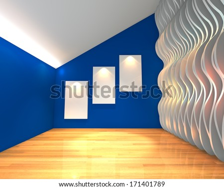 Empty room interior with white canvas on blue wave wall in the gallery. - stock photo
