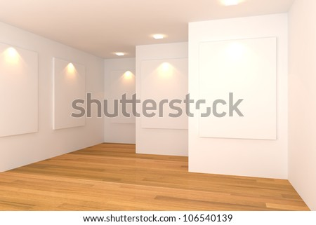 Empty room interior with white canvas on white wall in the gallery. - stock photo