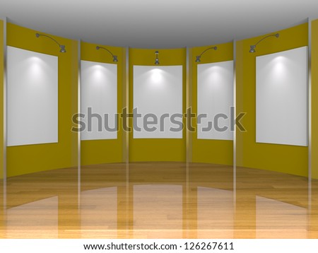 Empty room interior with white canvas on yellow wall in the gallery.