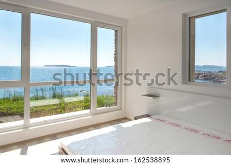 Empty room of an holiday villa - stock photo