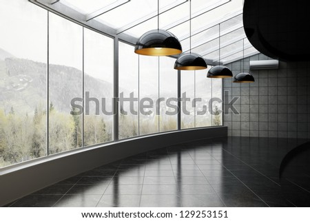 Empty room of business, or residence with mountains and woods background - stock photo