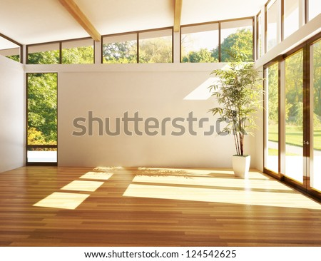 Empty room of business, or residence with woods background - stock photo