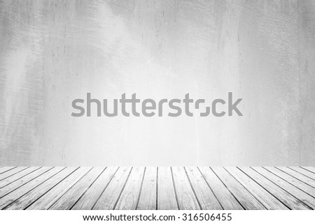 Empty room of gray (grey) grunge natural concrete wall and white wood floor plank pattern with weathered texture