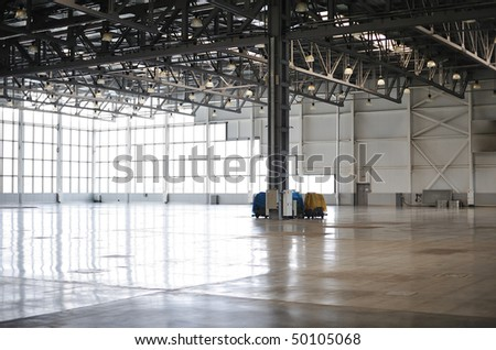 empty room of modern warehouse - stock photo