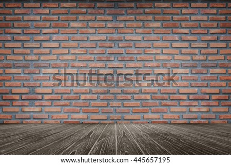 empty room of old red brick wall, Perspective brown wooden floor ,can be used for display or present your products, interior room for graphic design,filtered image