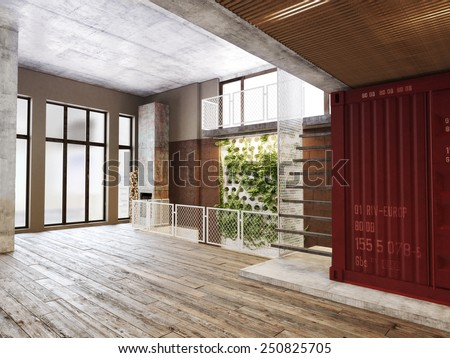 Empty room of residence with an atrium against the back wall and hardwood floors. Photo realistic rendering - stock photo