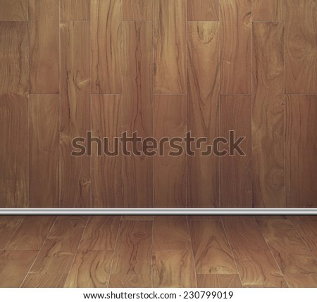 empty room of teak wood board texture wall and floor with vertical striped - stock photo