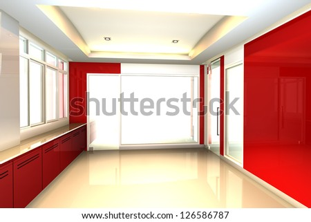 Empty room red tone for office interior