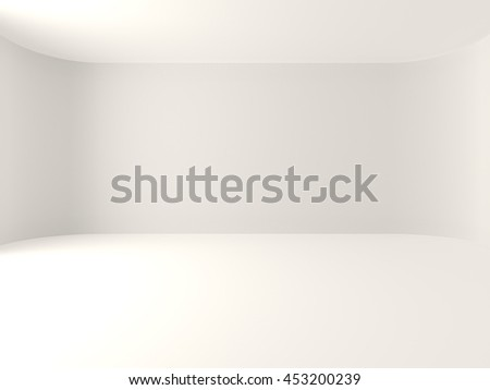 Empty room white curve wall with natural light, 3d illustration