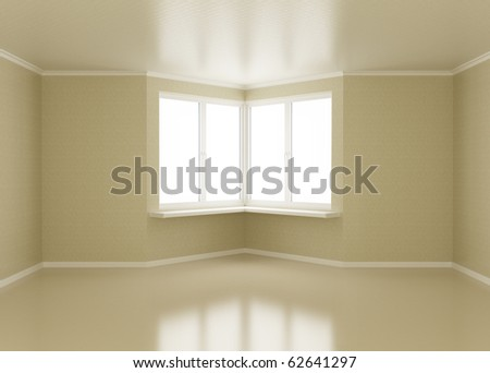 Empty room, windows in corner, 3d illustration - stock photo