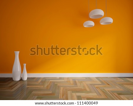 empty room with a orange wall and white vases - stock photo