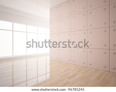 empty room with a tile on the wall - stock photo
