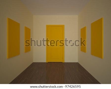 empty room with an orange door and pictures - stock photo