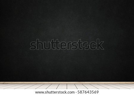 Empty room with big chalkboard and white wooden. Concept business, drawing, ideas, education